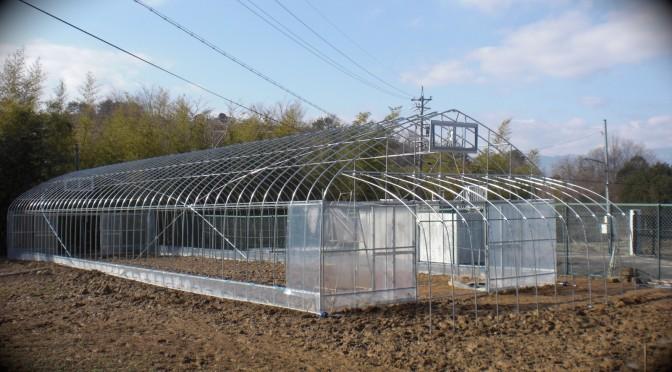 市田柿の柿干場になるビニールハウスを建設中です